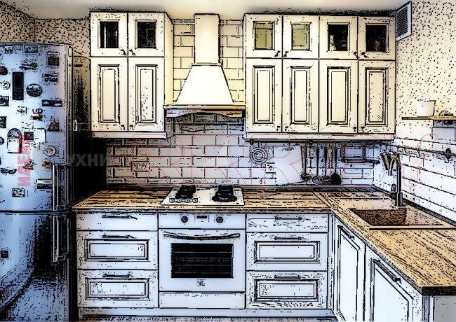 Кухня из массива ясеня №01