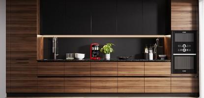 Темное дерево в оформлении интерьера кухни