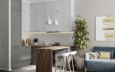 Как гармонично включить кухню в интерьер квартиры-студии
